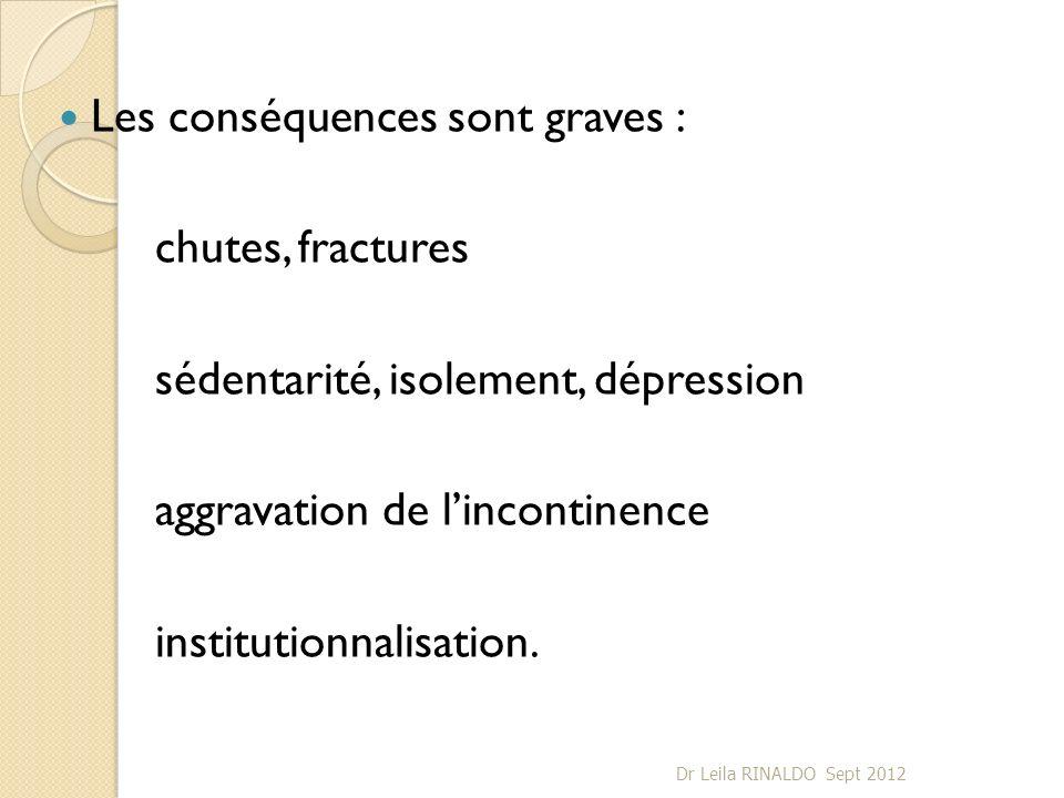Les conséquences sont graves : chutes, fractures sédentarité, isolement, dépression aggravation de lincontinence institutionnalisation. Dr Leila RINAL