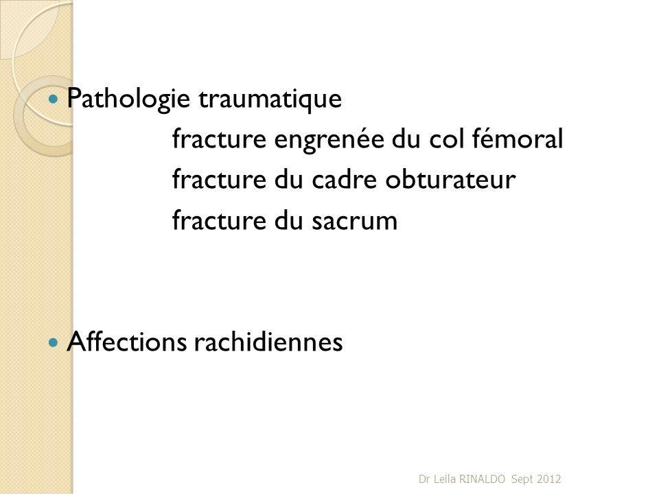Pathologie traumatique fracture engrenée du col fémoral fracture du cadre obturateur fracture du sacrum Affections rachidiennes Dr Leila RINALDO Sept