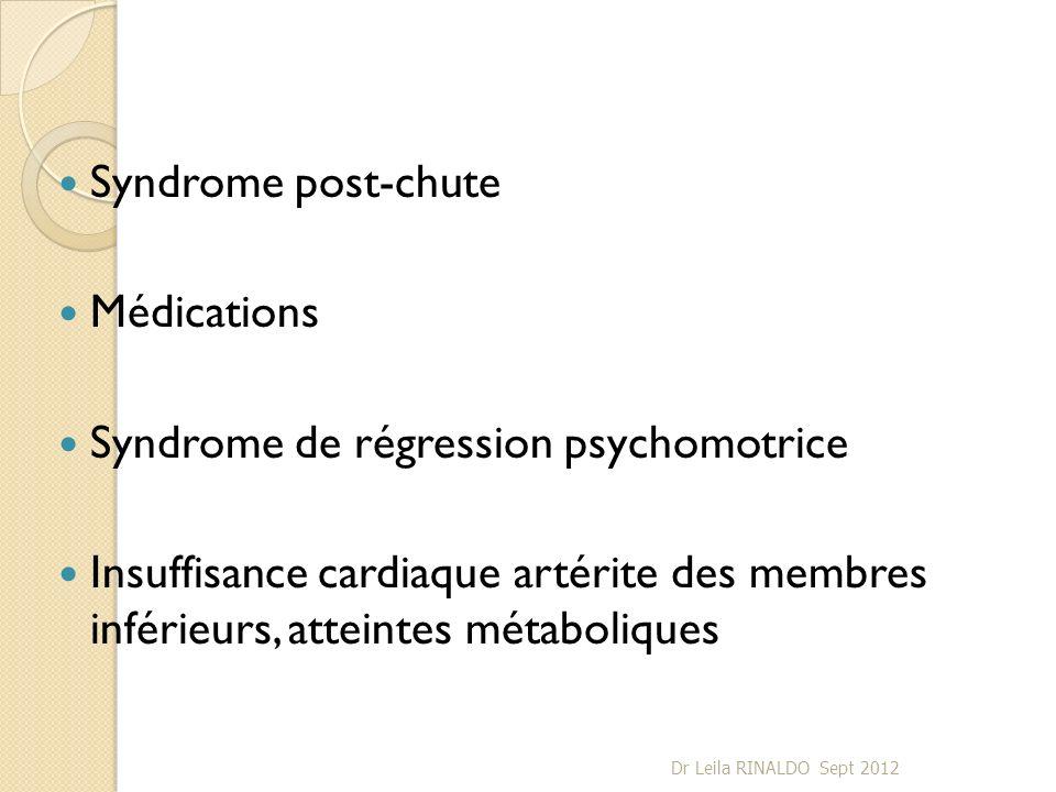 Syndrome post-chute Médications Syndrome de régression psychomotrice Insuffisance cardiaque artérite des membres inférieurs, atteintes métaboliques Dr