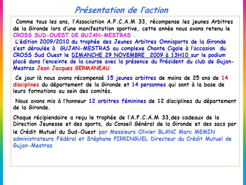 Présentation de laction Comme tous les ans, lAssociation A.F.C.A.M 33, récompense les jeunes Arbitres de la Gironde lors dune manifestation sportive,