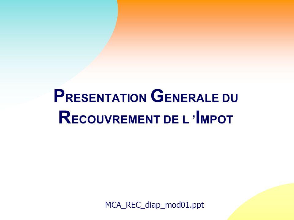 P RESENTATION G ENERALE DU R ECOUVREMENT DE L I MPOT MCA_REC_diap_mod01.ppt