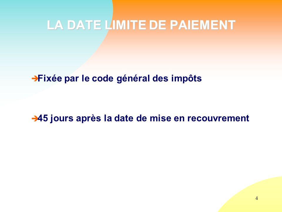 4 LA DATE LIMITE DE PAIEMENT Fixée par le code général des impôts 45 jours après la date de mise en recouvrement