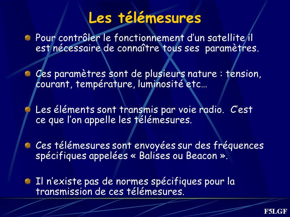 Les télémesures Pour contrôler le fonctionnement dun satellite il est nécessaire de connaître tous ses paramètres. Ces paramètres sont de plusieurs na