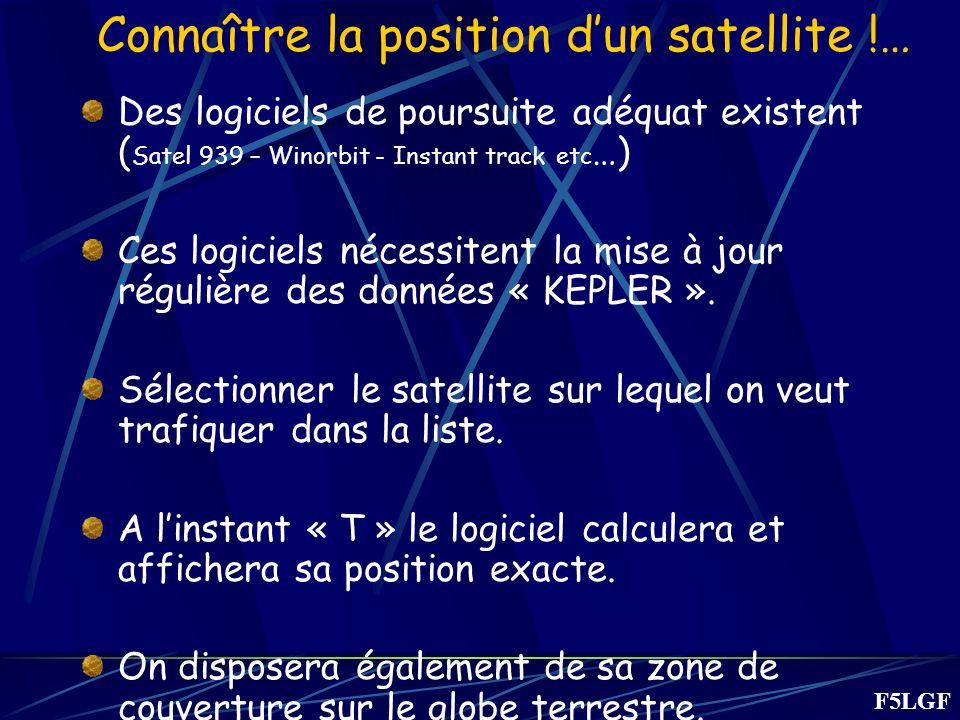 Connaître la position dun satellite !… Des logiciels de poursuite adéquat existent ( Satel 939 – Winorbit - Instant track etc …) Ces logiciels nécessitent la mise à jour régulière des données « KEPLER ».