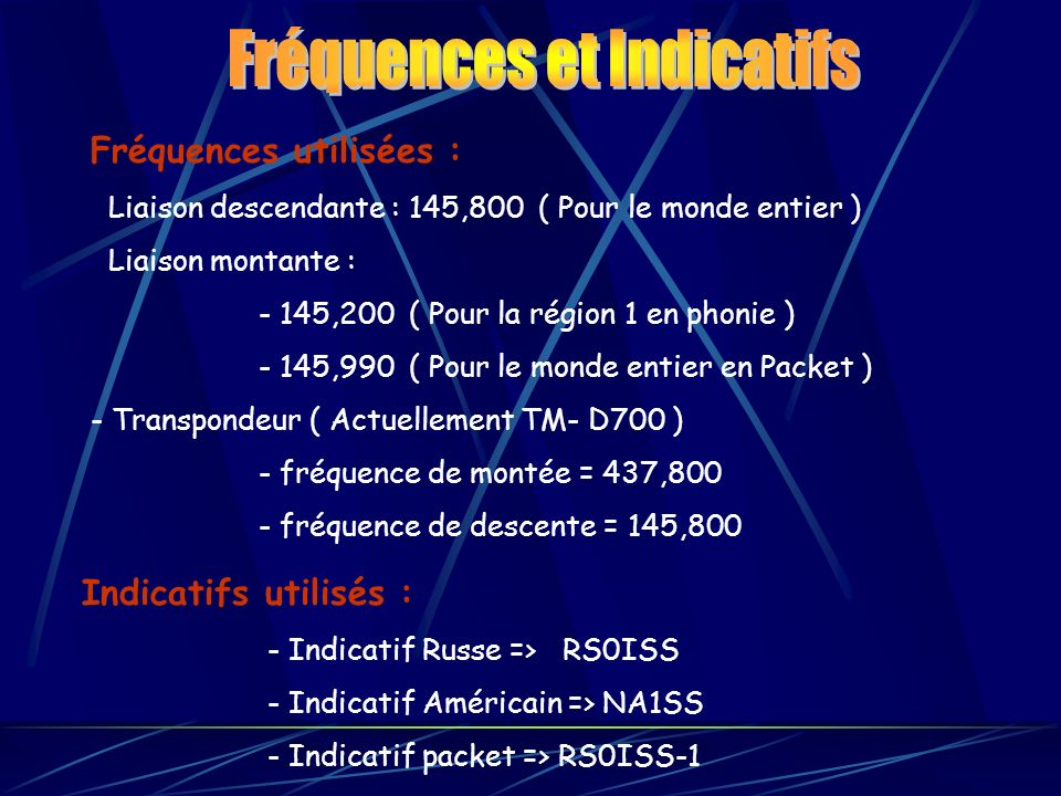 Fréquences utilisées : Liaison descendante : 145,800 ( Pour le monde entier ) Liaison montante : - 145,200 ( Pour la région 1 en phonie ) - 145,990 (