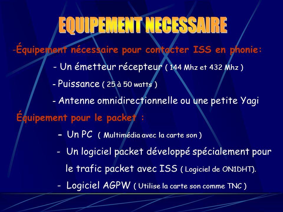 -Équipement nécessaire pour contacter ISS en phonie: - Un émetteur récepteur ( 144 Mhz et 432 Mhz ) - Puissance ( 25 à 50 watts ) - Antenne omnidirect