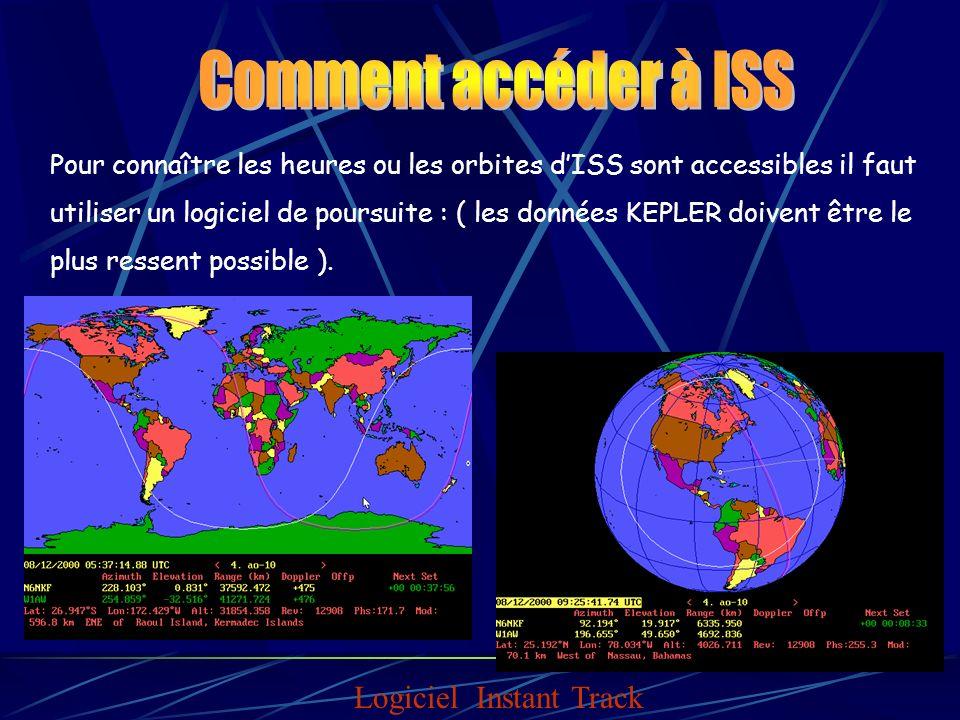 Pour connaître les heures ou les orbites dISS sont accessibles il faut utiliser un logiciel de poursuite : ( les données KEPLER doivent être le plus ressent possible ).