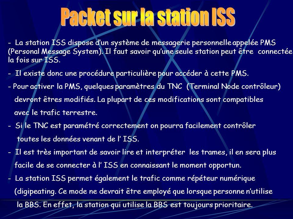 - La station ISS dispose dun système de messagerie personnelle appelée PMS (Personal Message System). Il faut savoir quune seule station peut être con