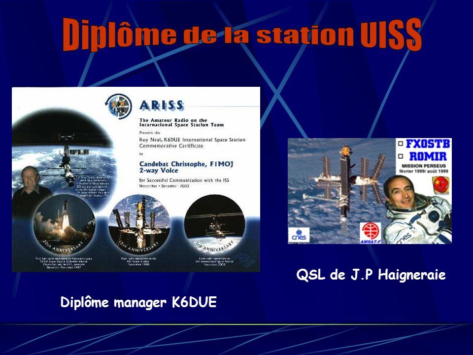 Diplôme manager K6DUE QSL de J.P Haigneraie