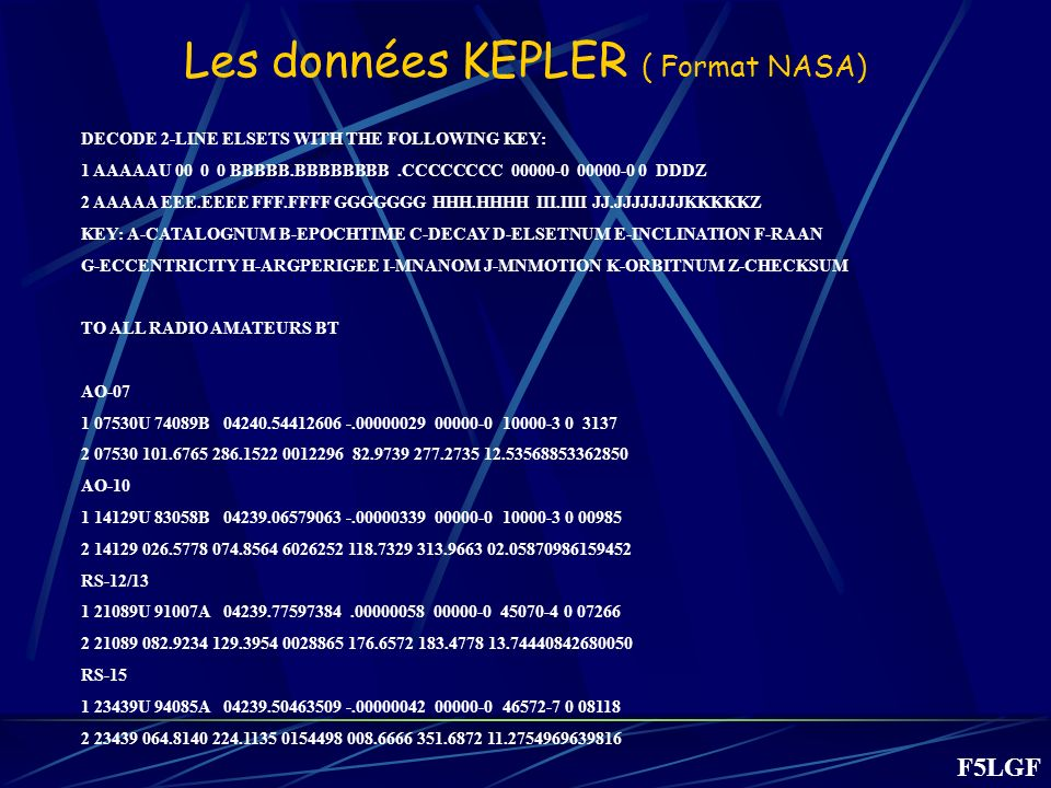 Les données KEPLER ( Format NASA) DECODE 2-LINE ELSETS WITH THE FOLLOWING KEY: 1 AAAAAU 00 0 0 BBBBB.BBBBBBBB.CCCCCCCC 00000-0 00000-0 0 DDDZ 2 AAAAA