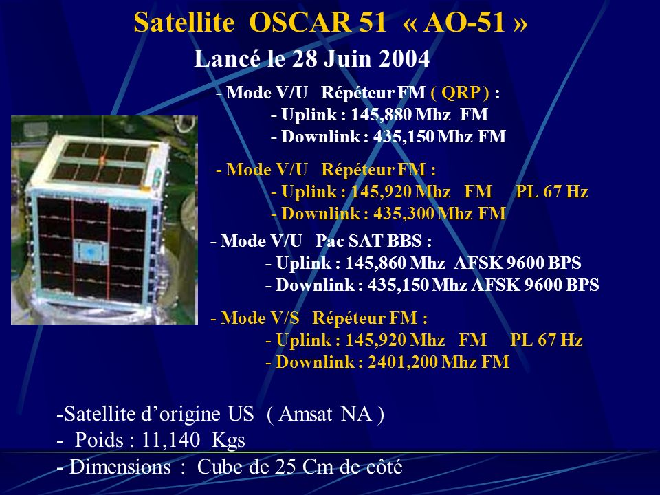Satellite OSCAR 51 « AO-51 » Lancé le 28 Juin 2004 - Mode V/U Répéteur FM ( QRP ) : - Uplink : 145,880 Mhz FM - Downlink : 435,150 Mhz FM - Mode V/U Répéteur FM : - Uplink : 145,920 Mhz FM PL 67 Hz - Downlink : 435,300 Mhz FM - Mode V/U Pac SAT BBS : - Uplink : 145,860 Mhz AFSK 9600 BPS - Downlink : 435,150 Mhz AFSK 9600 BPS -Satellite dorigine US ( Amsat NA ) - Poids : 11,140 Kgs - Dimensions : Cube de 25 Cm de côté - Mode V/S Répéteur FM : - Uplink : 145,920 Mhz FM PL 67 Hz - Downlink : 2401,200 Mhz FM