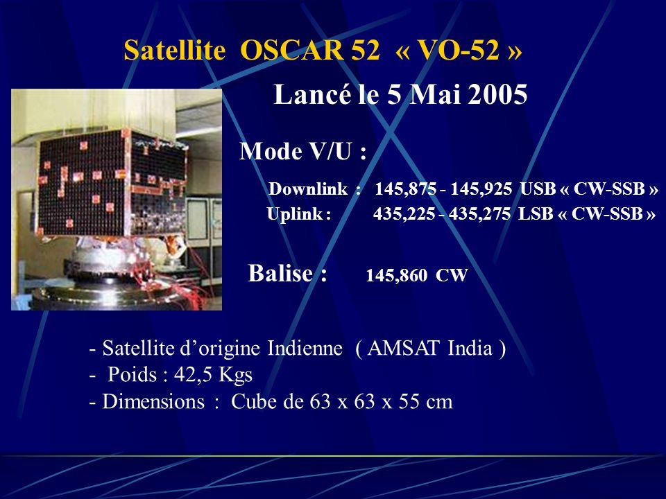 Satellite OSCAR 52 « VO-52 » Mode V/U : Downlink : 145,875 - 145,925 USB « CW-SSB » Uplink : 435,225 - 435,275 LSB « CW-SSB » Balise : 145,860 CW - Sa