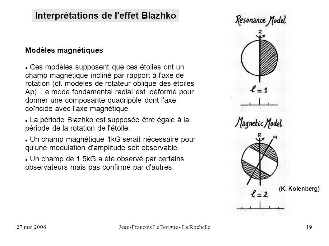 27 mai 2006Jean-François Le Borgne - La Rochelle19 Interprétations de l'effet Blazhko (K. Kolenberg) Modèles magnétiques Ces modèles supposent que ces