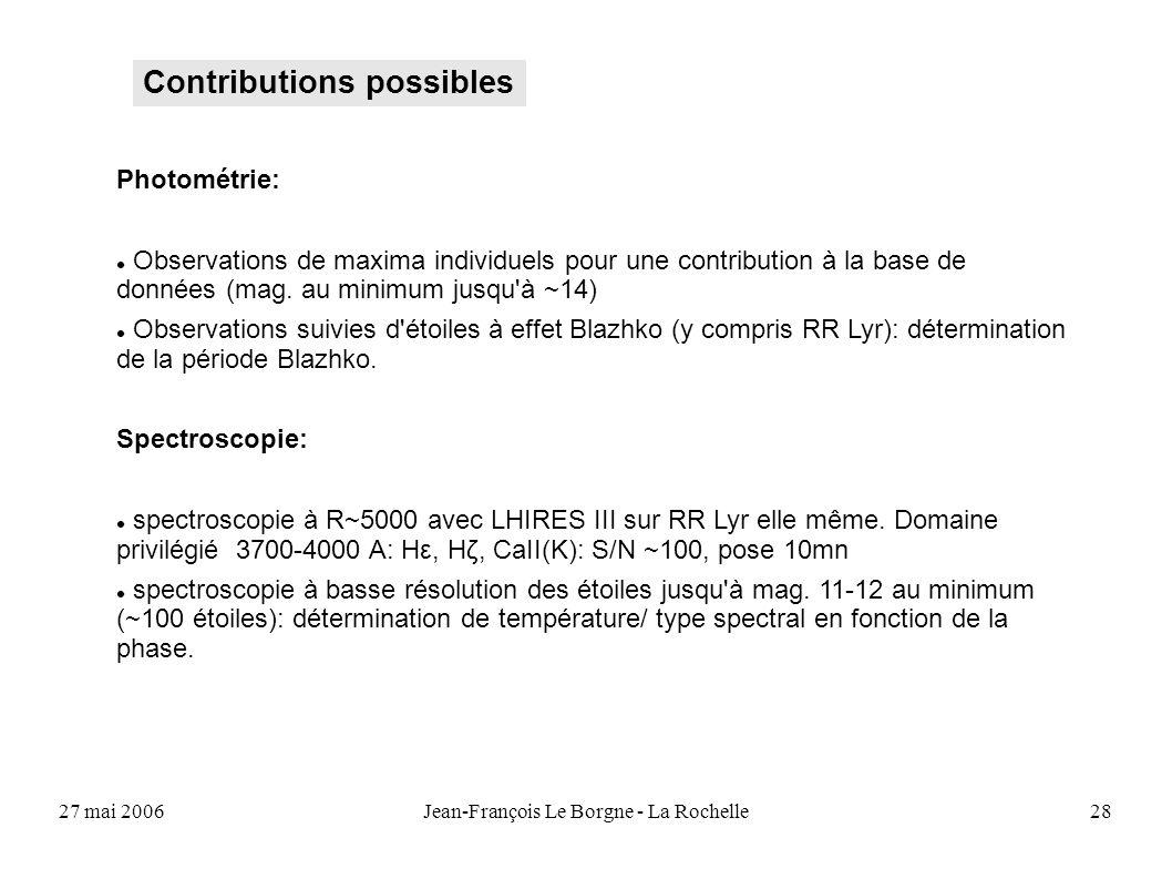 27 mai 2006Jean-François Le Borgne - La Rochelle28 Contributions possibles Photométrie: Observations de maxima individuels pour une contribution à la