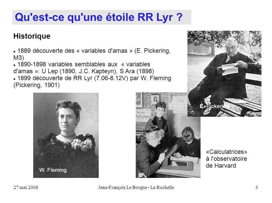 27 mai 2006Jean-François Le Borgne - La Rochelle3 Qu'est-ce qu'une étoile RR Lyr ? W. Fleming Historique 1889 découverte des « variables d'amas » (E.