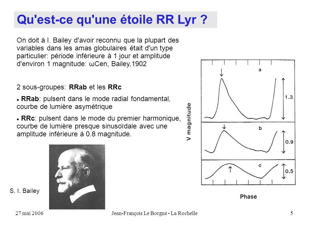 27 mai 2006Jean-François Le Borgne - La Rochelle5 On doit à I. Bailey d'avoir reconnu que la plupart des variables dans les amas globulaires était d'u