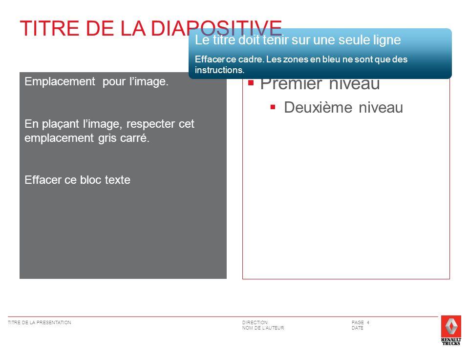DIRECTION NOM DE LAUTEUR TITRE DE LA PRESENTATIONPAGE 4 DATE Premier niveau Deuxième niveau Emplacement pour limage.