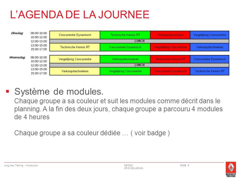 NETDEV KRIS MEULEMAN Long Haul Training - IntroductionPAGE 6 PLANNING Chaque formateur tiens le planning de la journée pour vous diriger vers la prochaine module.