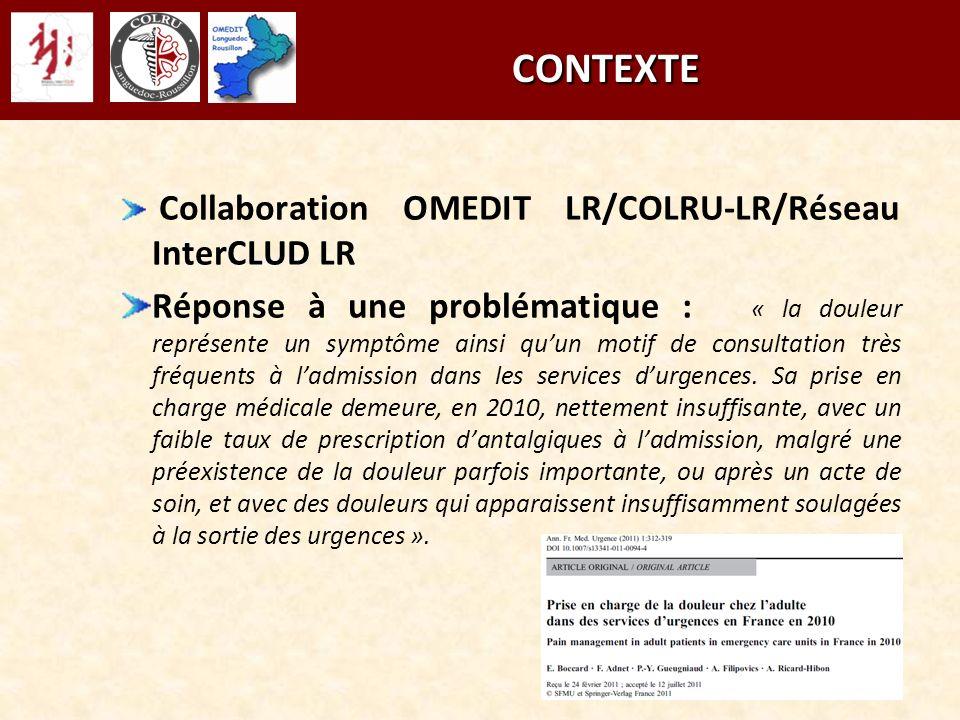 CONTEXTE CONTEXTE Collaboration OMEDIT LR/COLRU-LR/Réseau InterCLUD LR Réponse à une problématique : « la douleur représente un symptôme ainsi quun mo