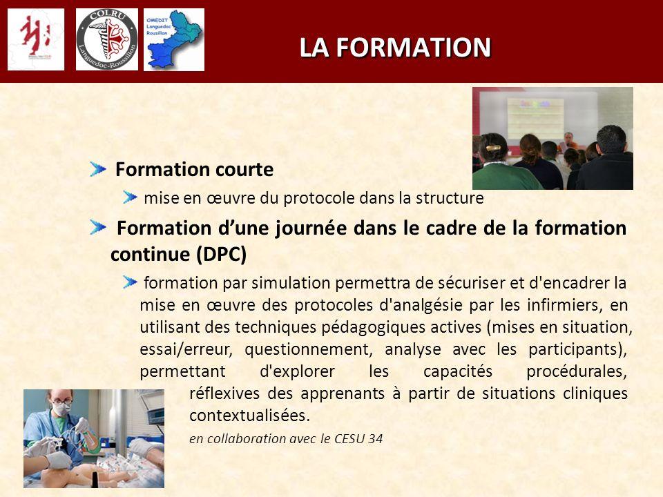 LA FORMATION LA FORMATION Formation courte mise en œuvre du protocole dans la structure Formation dune journée dans le cadre de la formation continue
