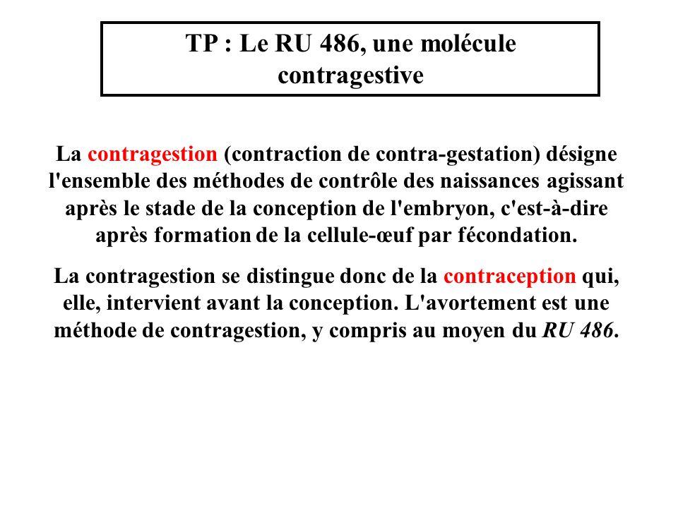 TP : Le RU 486, une molécule contragestive La contragestion (contraction de contra-gestation) désigne l'ensemble des méthodes de contrôle des naissanc