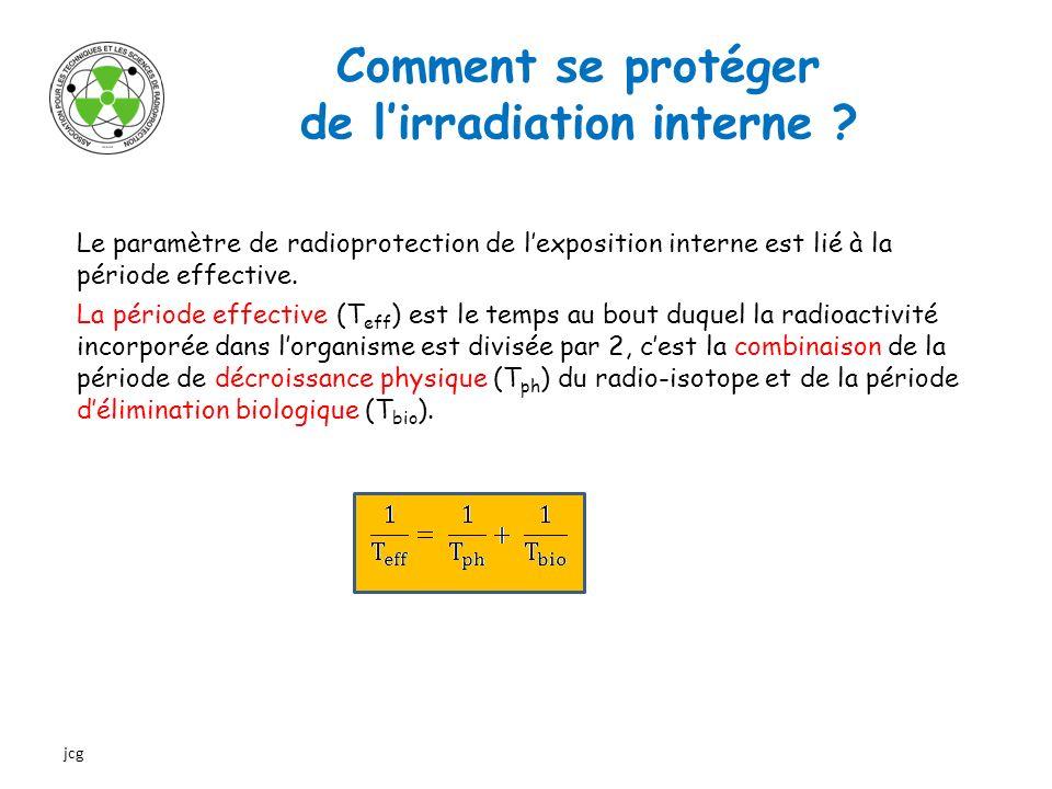 Comment se protéger de lirradiation interne ? Le paramètre de radioprotection de lexposition interne est lié à la période effective. La période effect
