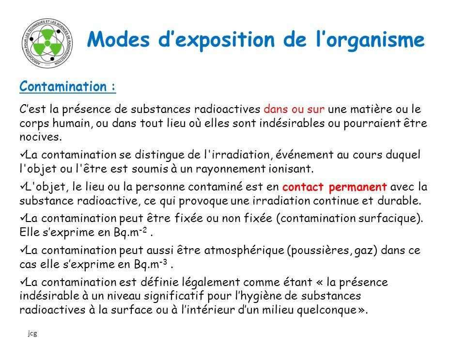 Modes dexposition de lorganisme Contamination : Cest la présence de substances radioactives dans ou sur une matière ou le corps humain, ou dans tout l