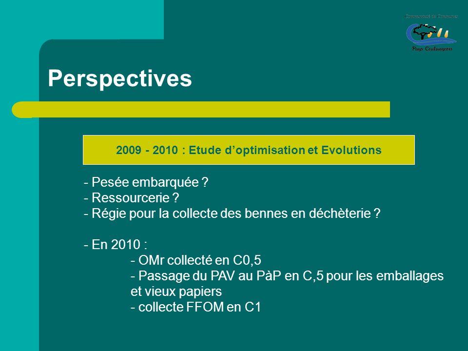 Perspectives 2009 - 2010 : Etude doptimisation et Evolutions - Pesée embarquée ? - Ressourcerie ? - Régie pour la collecte des bennes en déchèterie ?