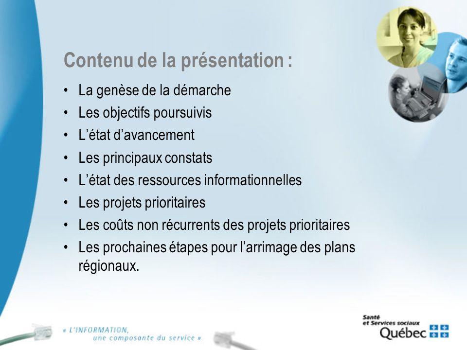 Contenu de la présentation : La genèse de la démarche Les objectifs poursuivis Létat davancement Les principaux constats Létat des ressources informat