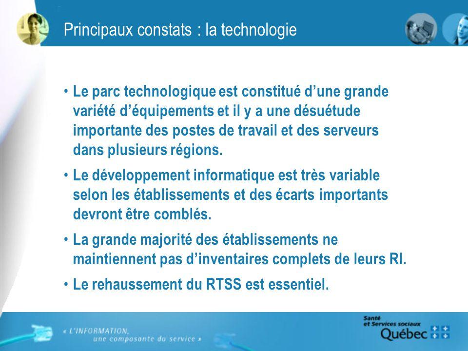 Principaux constats : la technologie Le parc technologique est constitué dune grande variété déquipements et il y a une désuétude importante des postes de travail et des serveurs dans plusieurs régions.