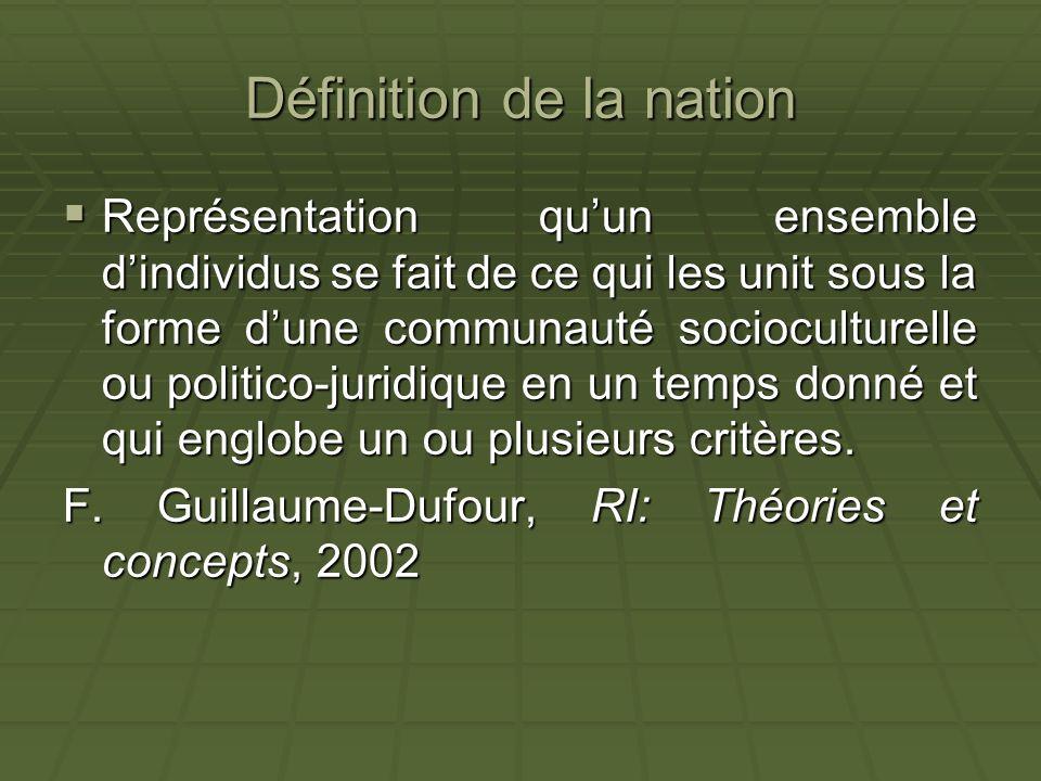Définition de la nation Représentation quun ensemble dindividus se fait de ce qui les unit sous la forme dune communauté socioculturelle ou politico-j