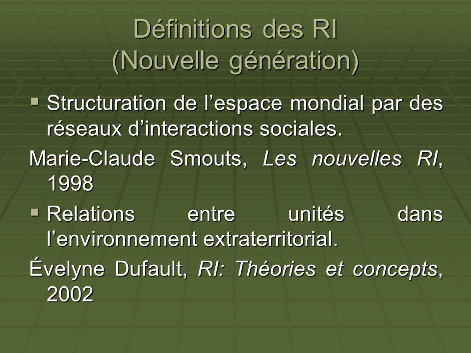 Définitions des RI (Nouvelle génération) Structuration de lespace mondial par des réseaux dinteractions sociales. Structuration de lespace mondial par