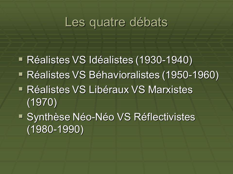 Les quatre débats Réalistes VS Idéalistes (1930-1940) Réalistes VS Idéalistes (1930-1940) Réalistes VS Béhavioralistes (1950-1960) Réalistes VS Béhavi