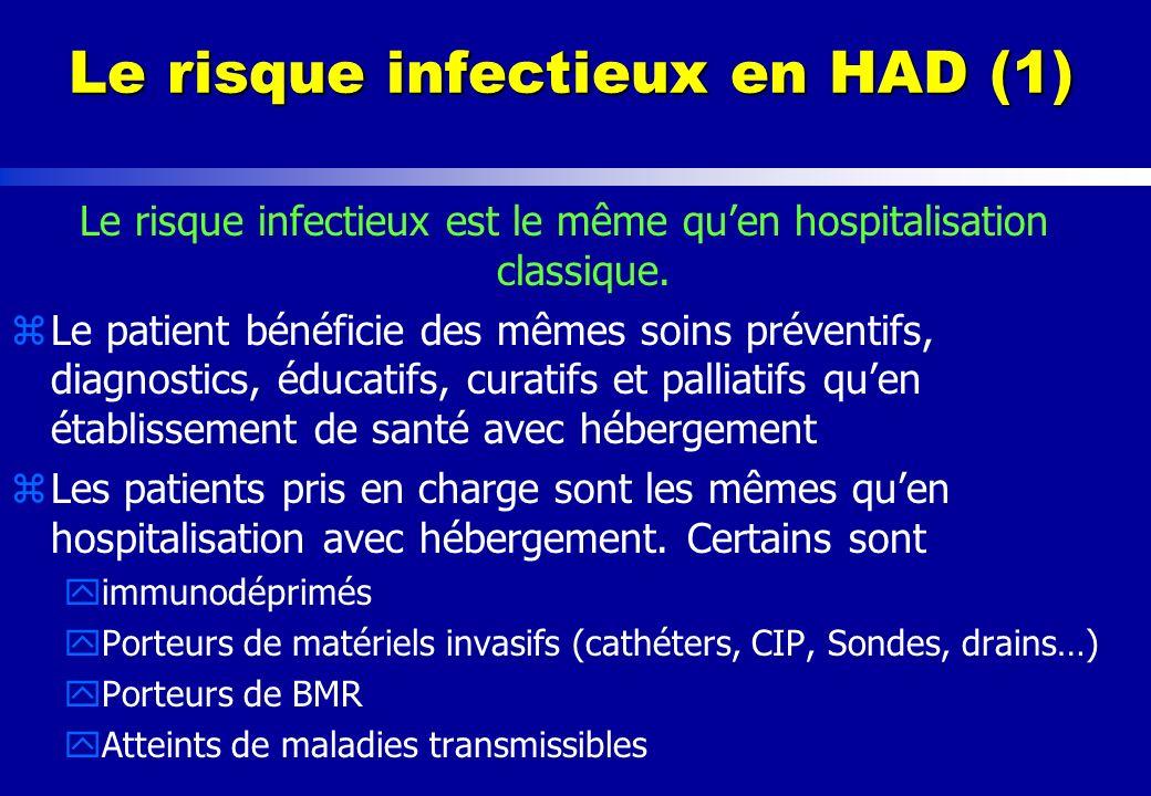Le risque infectieux en HAD (2) Surveillance des infections nosocomiales zEnquêtes dincidence sur les AES régulièrement réalisées zTrès peu dexemples denquête de prévalence - Méthodologie doit être adaptée.