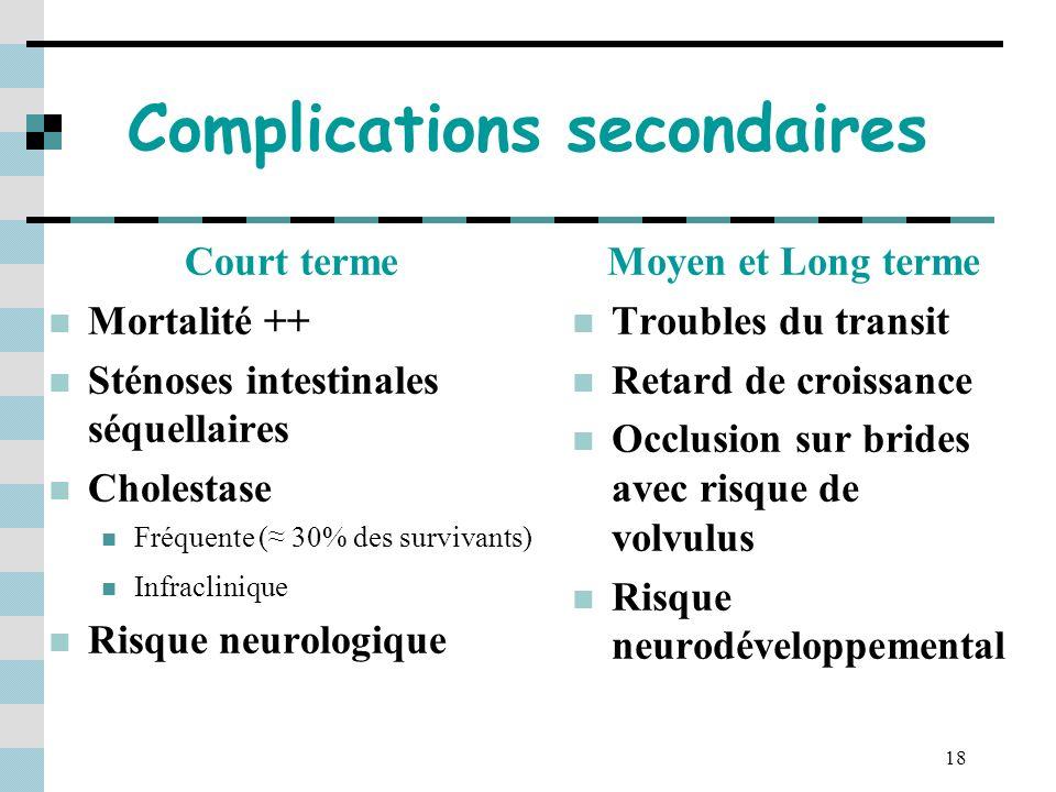 18 Complications secondaires Court terme Mortalité ++ Sténoses intestinales séquellaires Cholestase Fréquente ( 30% des survivants) Infraclinique Risq