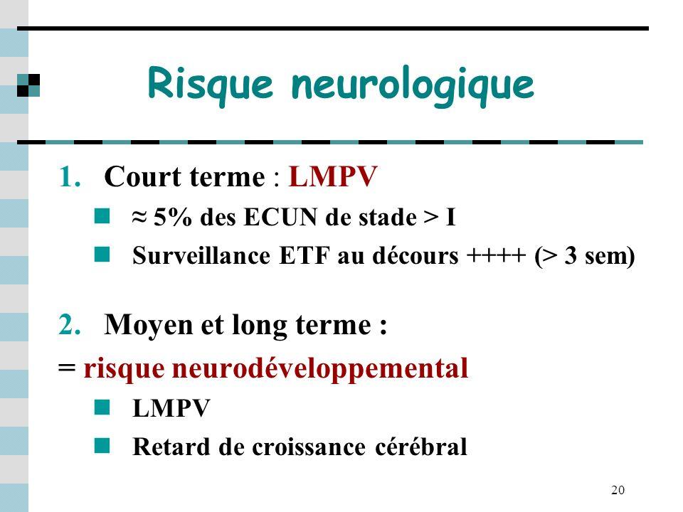 20 Risque neurologique 1.Court terme : LMPV 5% des ECUN de stade > I Surveillance ETF au décours ++++ (> 3 sem) 2.Moyen et long terme : = risque neuro