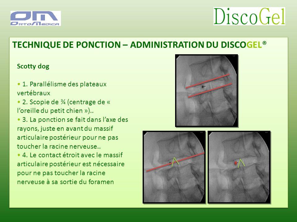 TECHNIQUE DE PONCTION – ADMINISTRATION DU DISCOGEL® Scotty dog 1. Parallélisme des plateaux vertébraux 2. Scopie de ¾ (centrage de « loreille du petit