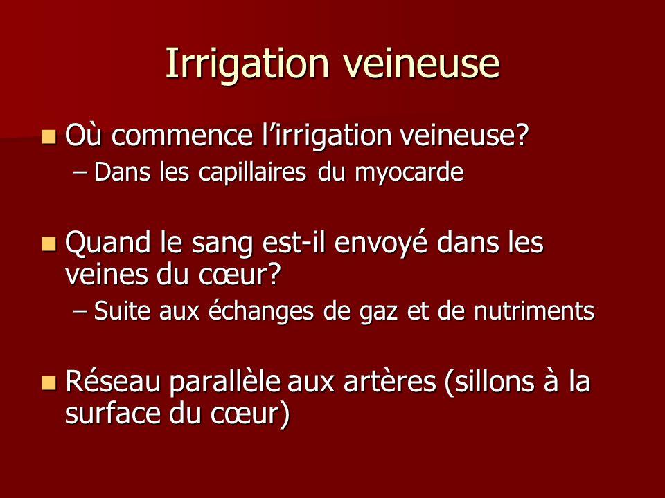 Irrigation veineuse Où commence lirrigation veineuse? Où commence lirrigation veineuse? –Dans les capillaires du myocarde Quand le sang est-il envoyé