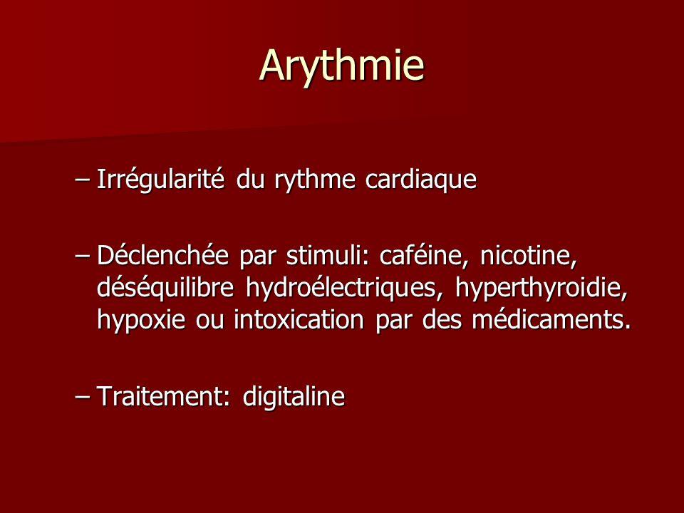 Arythmie –Irrégularité du rythme cardiaque –Déclenchée par stimuli: caféine, nicotine, déséquilibre hydroélectriques, hyperthyroidie, hypoxie ou intox