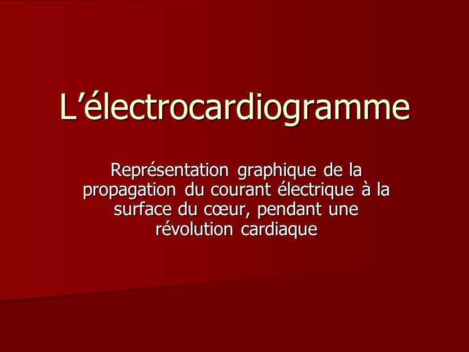 Lélectrocardiogramme Représentation graphique de la propagation du courant électrique à la surface du cœur, pendant une révolution cardiaque