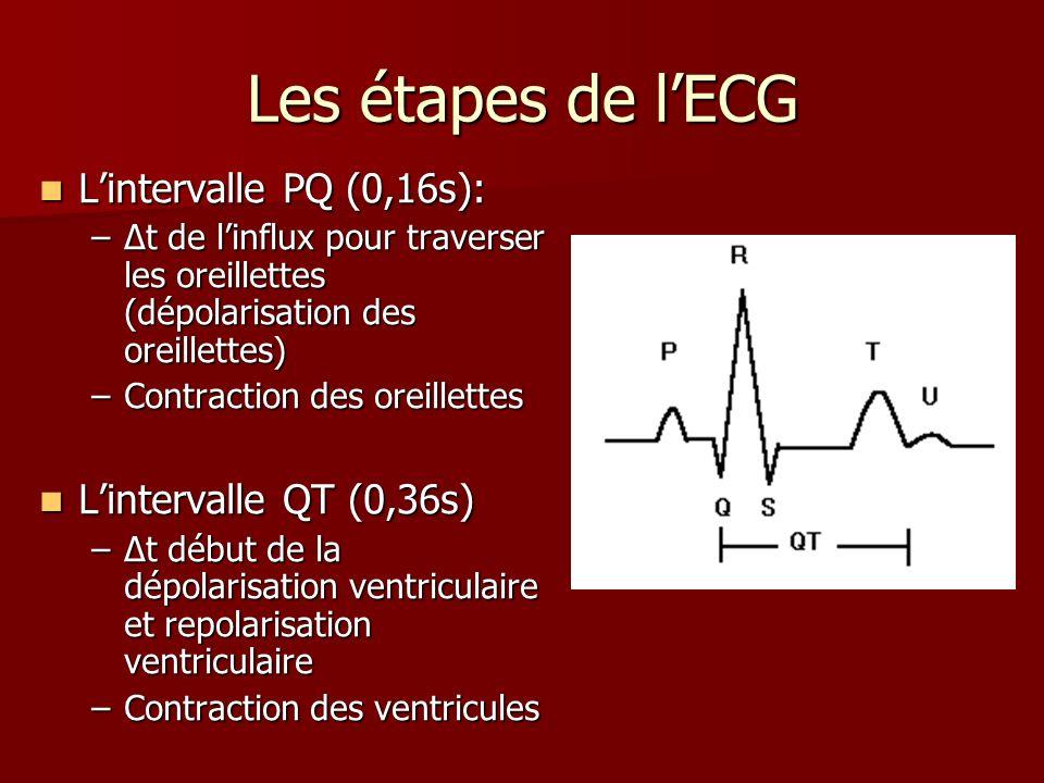 Les étapes de lECG Lintervalle PQ (0,16s): Lintervalle PQ (0,16s): –t de linflux pour traverser les oreillettes (dépolarisation des oreillettes) –Cont