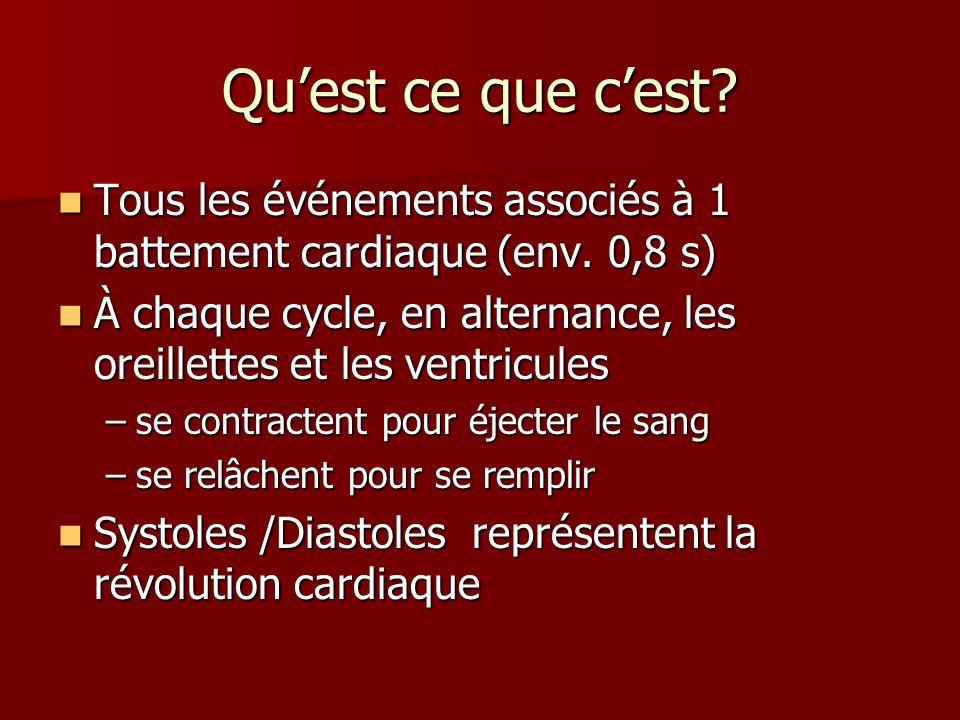 Quest ce que cest? Tous les événements associés à 1 battement cardiaque (env. 0,8 s) Tous les événements associés à 1 battement cardiaque (env. 0,8 s)