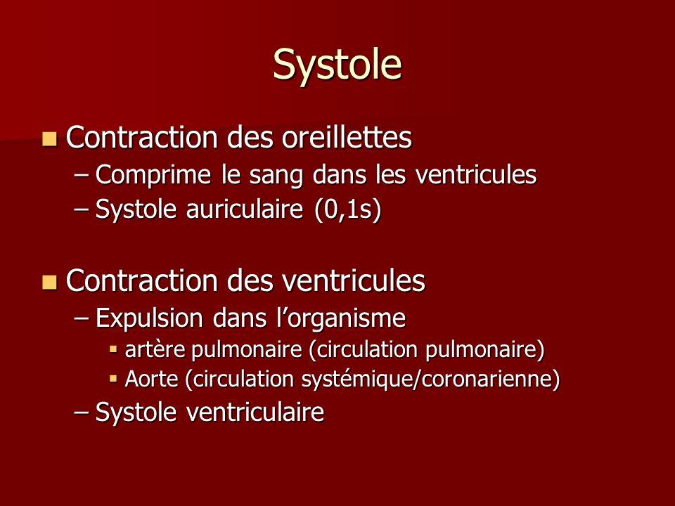 Systole Contraction des oreillettes Contraction des oreillettes –Comprime le sang dans les ventricules –Systole auriculaire (0,1s) Contraction des ven