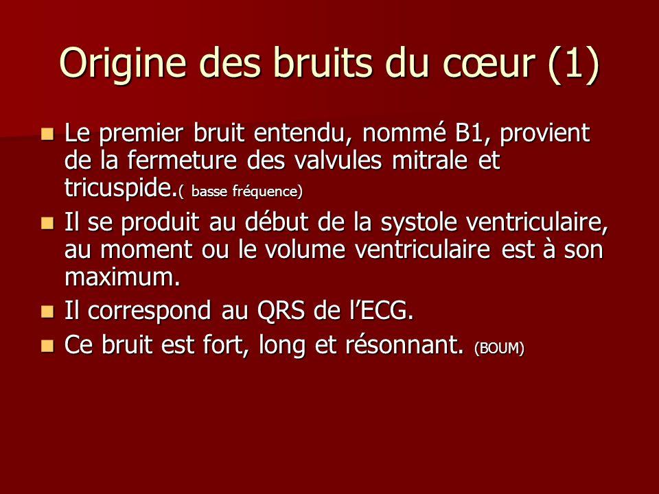 Origine des bruits du cœur (1) Le premier bruit entendu, nommé B1, provient de la fermeture des valvules mitrale et tricuspide. ( basse fréquence) Le