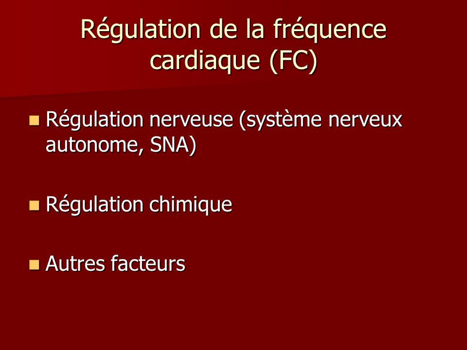 Régulation de la fréquence cardiaque (FC) Régulation nerveuse (système nerveux autonome, SNA) Régulation nerveuse (système nerveux autonome, SNA) Régu