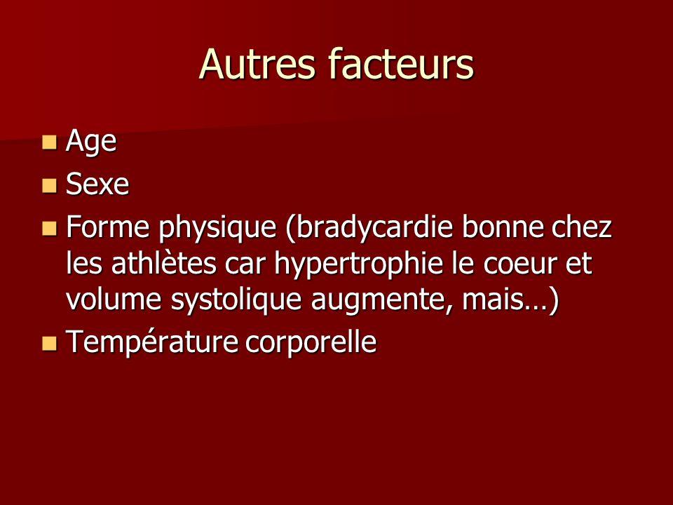 Autres facteurs Age Age Sexe Sexe Forme physique (bradycardie bonne chez les athlètes car hypertrophie le coeur et volume systolique augmente, mais…)