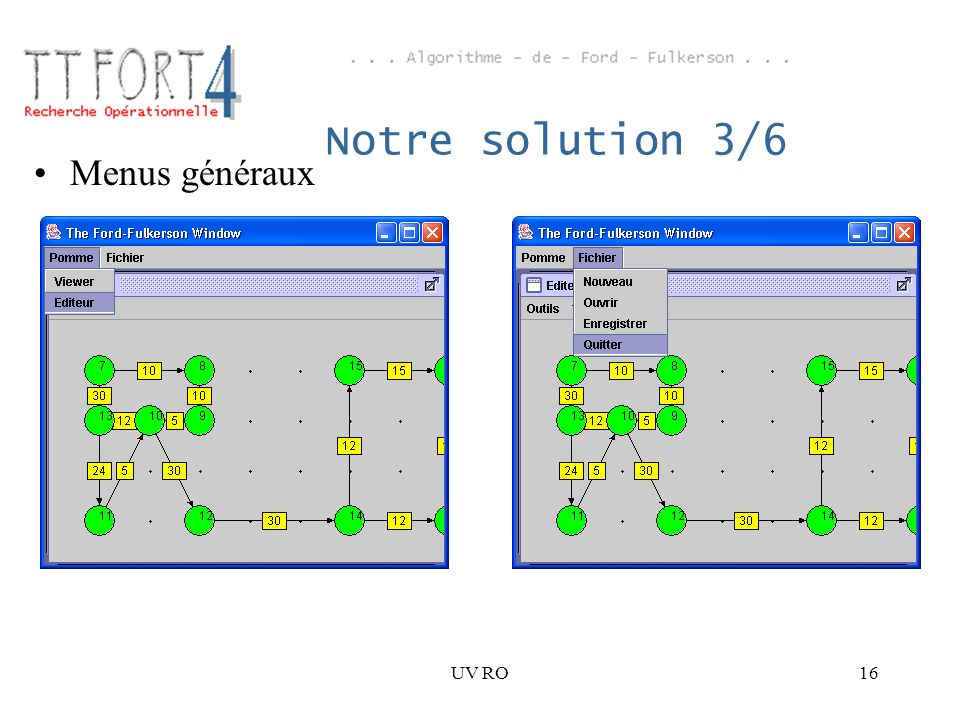 UV RO16 Notre solution 3/6 Menus généraux