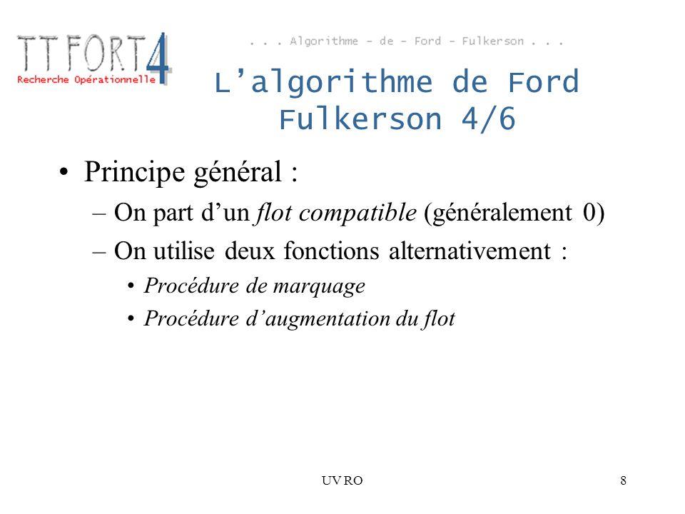 UV RO8 Lalgorithme de Ford Fulkerson 4/6 Principe général : –On part dun flot compatible (généralement 0) –On utilise deux fonctions alternativement :