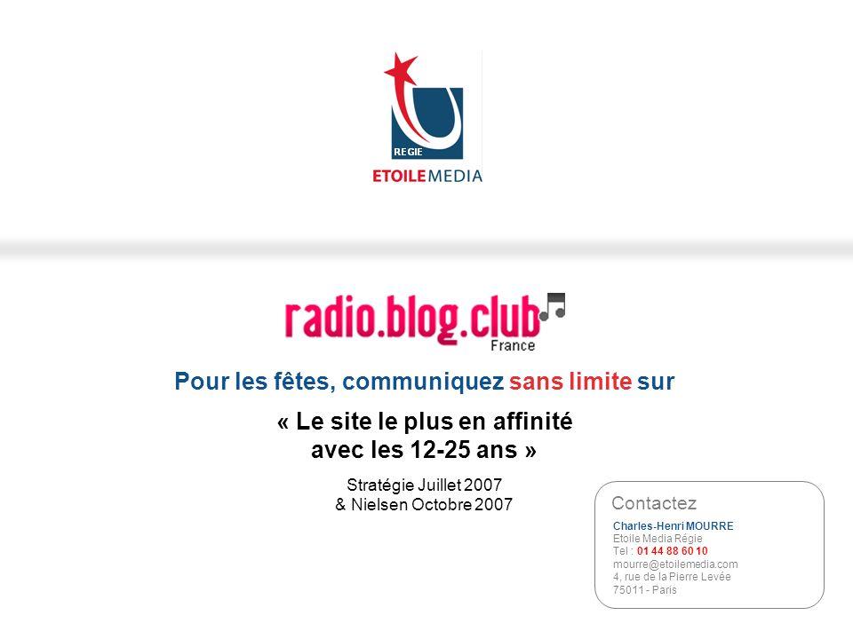 © Etoile Media Régie 2007 Pour les fêtes, communiquez sans limite sur « Le site le plus en affinité avec les 12-25 ans » Stratégie Juillet 2007 & Niel