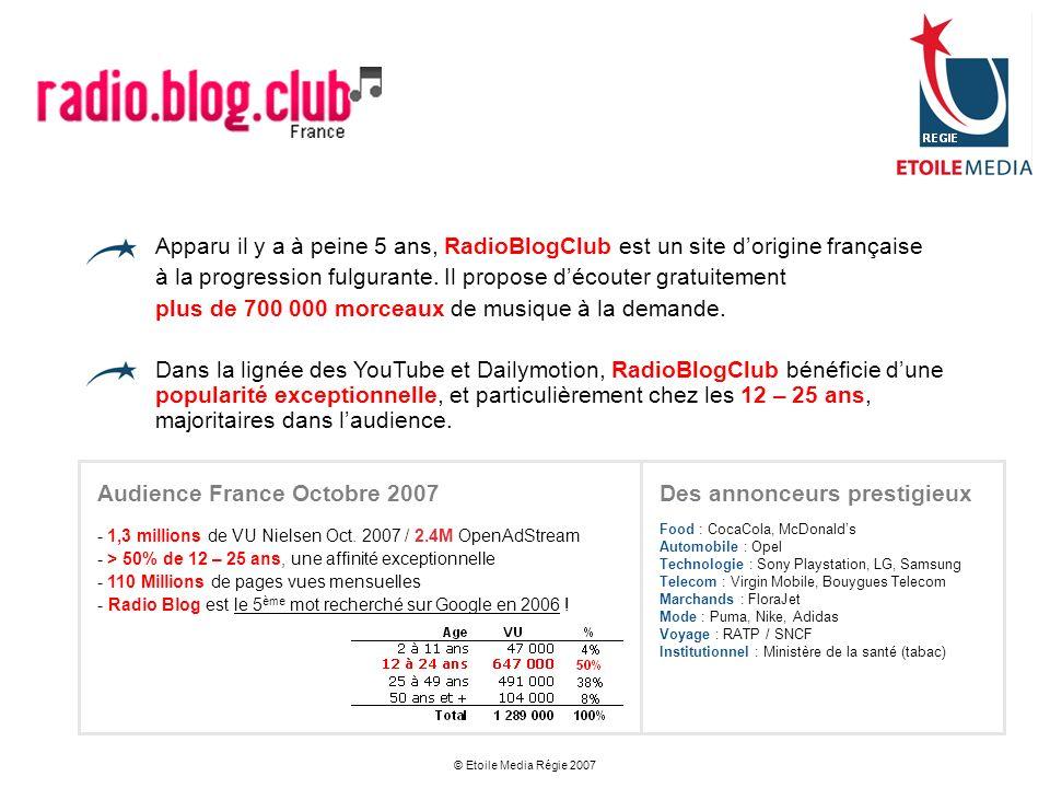 © Etoile Media Régie 2007 Apparu il y a à peine 5 ans, RadioBlogClub est un site dorigine française à la progression fulgurante. Il propose découter g